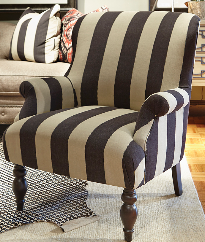 Khaki and Black Stripe Chair