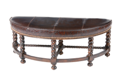 Curved Bench Leather Ottoman