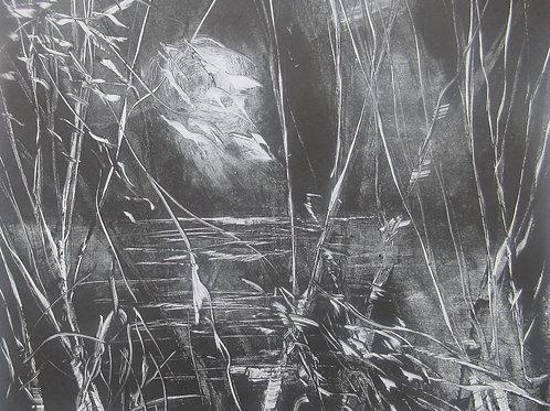 Night Breeze, monotype print