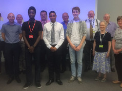Some of the Trustees with three of the young people awarded a bursary in 2016.