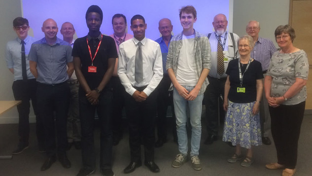 Some of the Trustees with young people who have received a bursary.