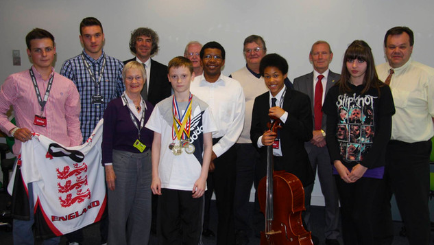 Some of the trustees with a group of those who were awarded a bursary in 2012.  Sheku Kanneh-Mason went on to win the BBC Young Musician of the Year in 2016.