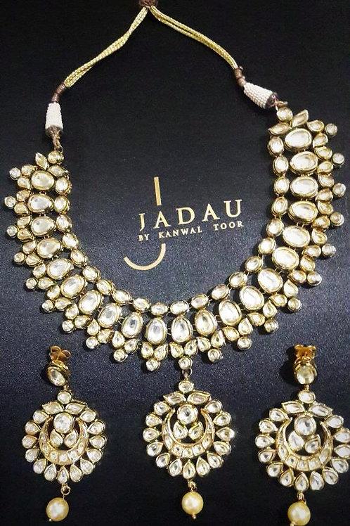 Kundan Stone Necklace with Earrings