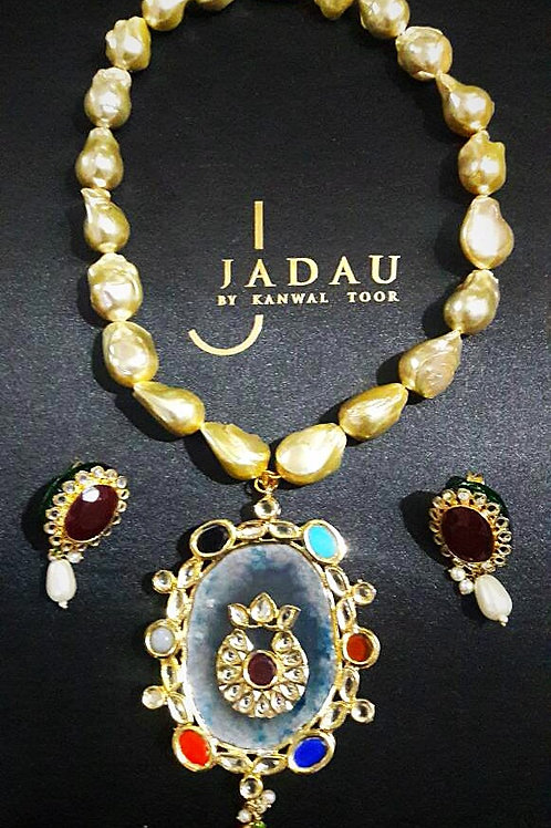 Necklace with Earring Set, Pearls & Semi-precious Stones