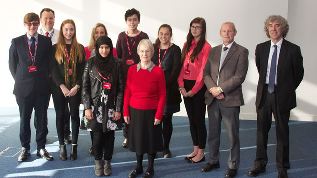 Some of the trustees with a group of those who were awarded a bursary in 2014.  Ben King went on to become a co-opted trustee.