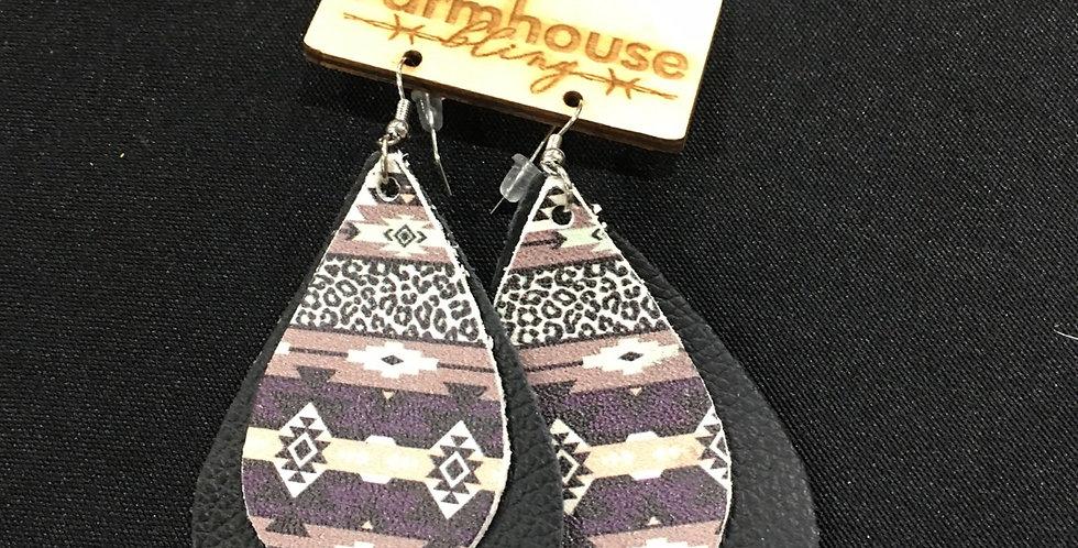 Black Aztec leather earring