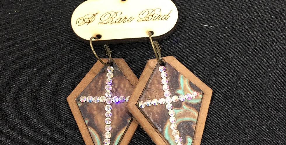 Leather crystal cross earring