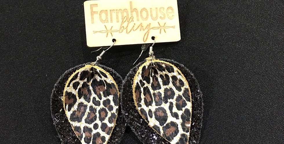 Double leatger leopard black earring