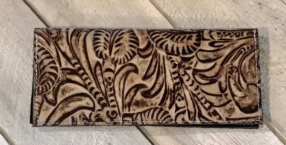Brown Tulled Checkbook Cover