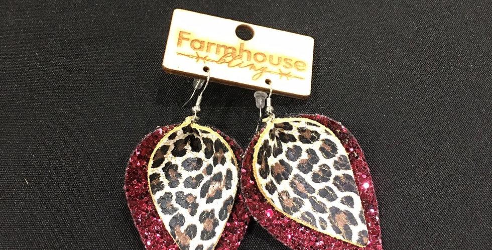 Double leather leopard fascia earring