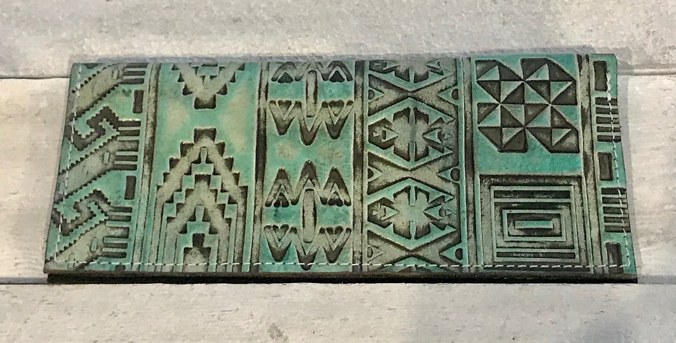 Teal Aztec Checkbook Cover