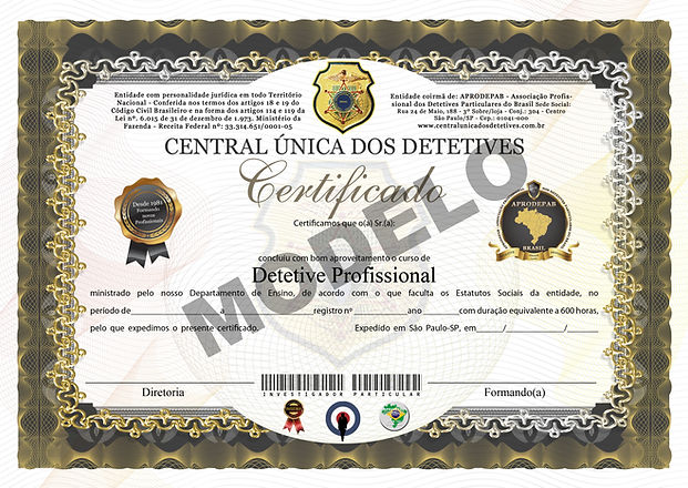 CERTIFICADO DO CURSO DE DETETIVE PROFISS