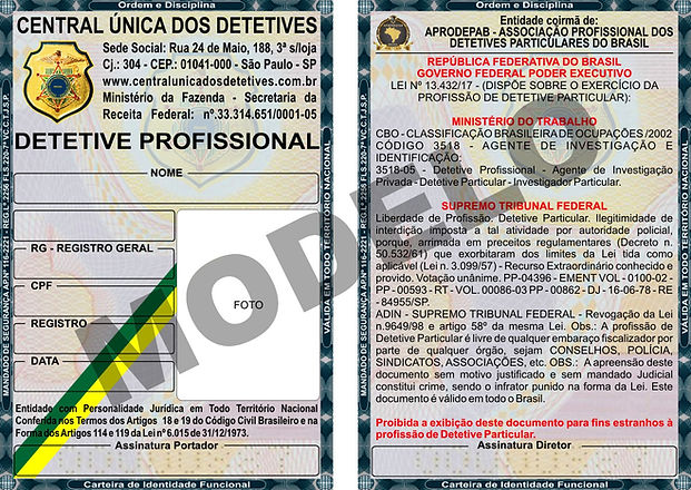 CARTEIRA DE DETETIVE PARTICULAR PROFISSI
