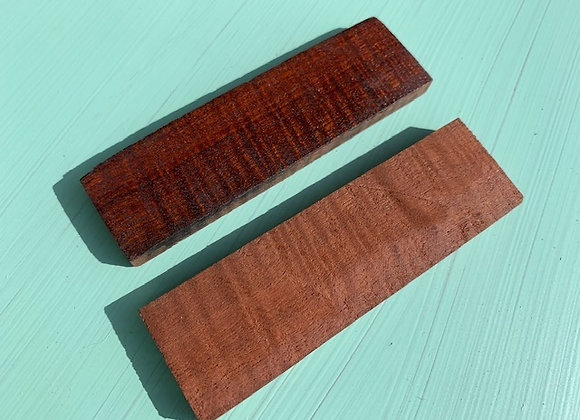 Figured Jarrah Scales Pair. 105x23x8.5mm