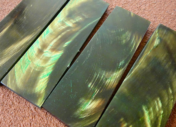 Knife Scales - Amber Green on Black Water Buffalo Horn 130x38x7.