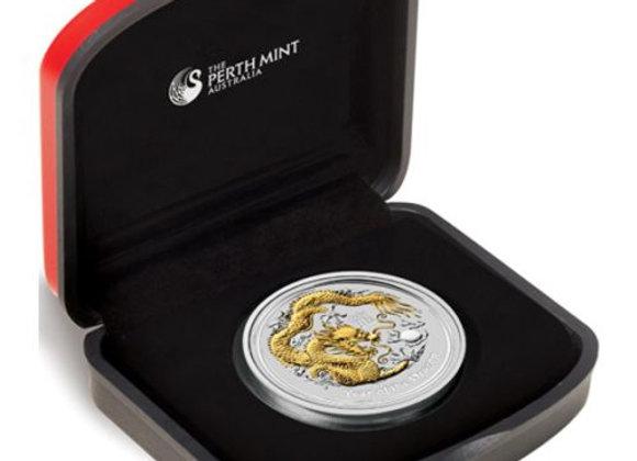 2012 $1 Year of the Dragon 1oz Gold Gilded Silver Coin Box & COA