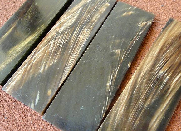 Knife Scales - Brown on Black Water Buffalo Horn 130x38x7mm