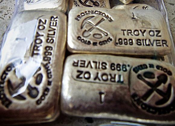 Prospector's Gold and Gems 1oz Silver Cast Bullion Bar