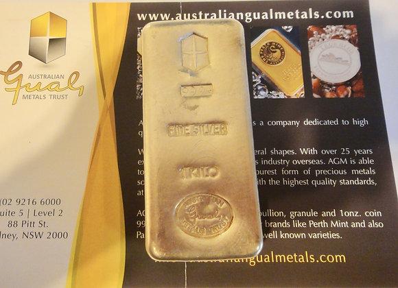 1kg .999 Ag Silver Bar Bullion RARE Australian Gual Metals
