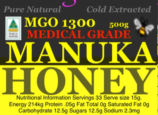 MGO1300 500g Genuine Australian Manuka Honey High Antibacterial Medicinal
