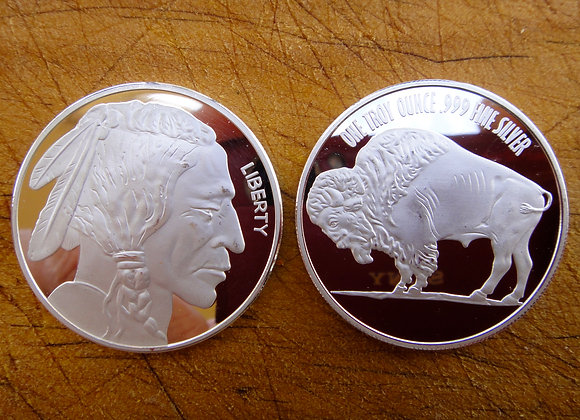 American Buffalo Indian Head 1oz .999 fine Silver rounds