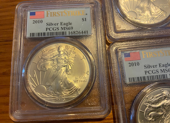 Silver Eagle PCGS MS69 First Strike 1oz Coin Slabbed