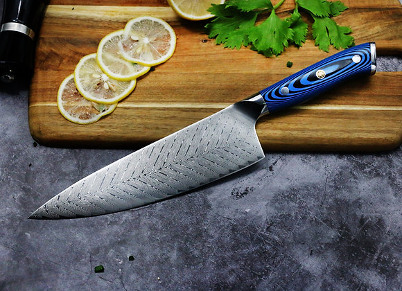 "8"" Chefs Knife 76 Layer Feather Pattern Stainless Damascus"
