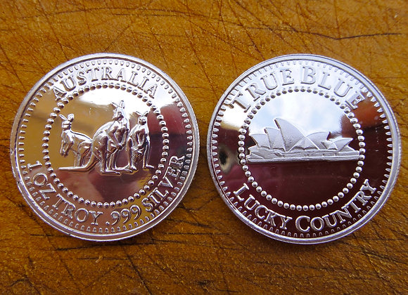 Australia True Blue Lucky Country 1oz .999 fine Silver rounds