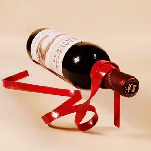 Ribbon Shaped Iron Wine Bottle Rack Stand Holder
