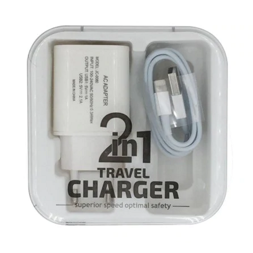 2 USB 8 Pin Lightning Cable Travel Charger Brick For iPhone