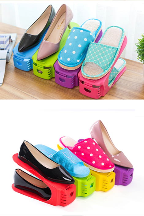 Double-Layer Plastic Shoe Organizer Stand