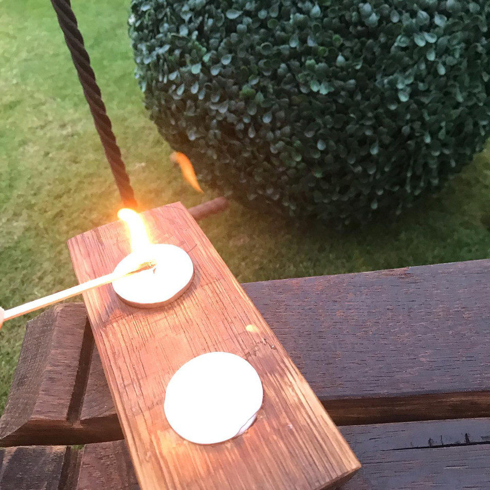 Lighting wine barrel oak double candle holder