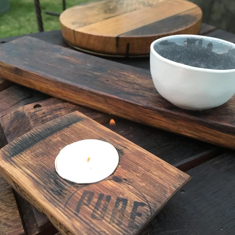 Oak Single Candle Holder