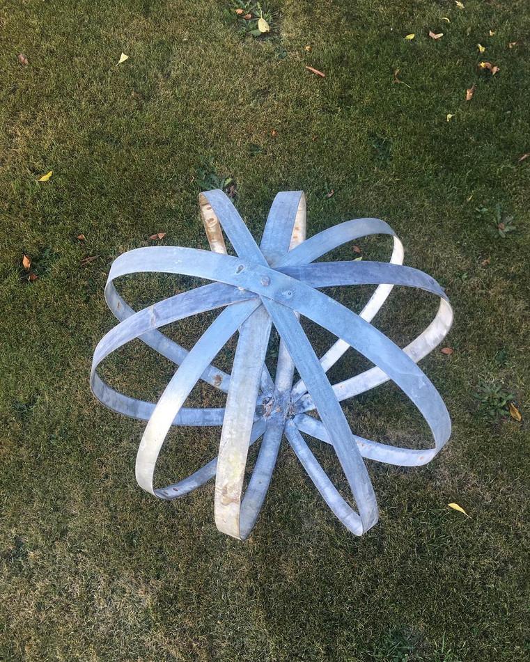 Metal Garden Art Sphere Orange Peel
