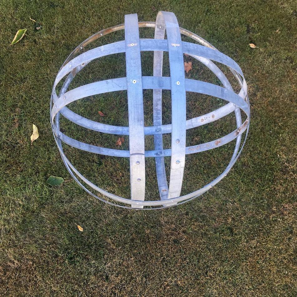 Metal Garden Art Sphere Double Banded