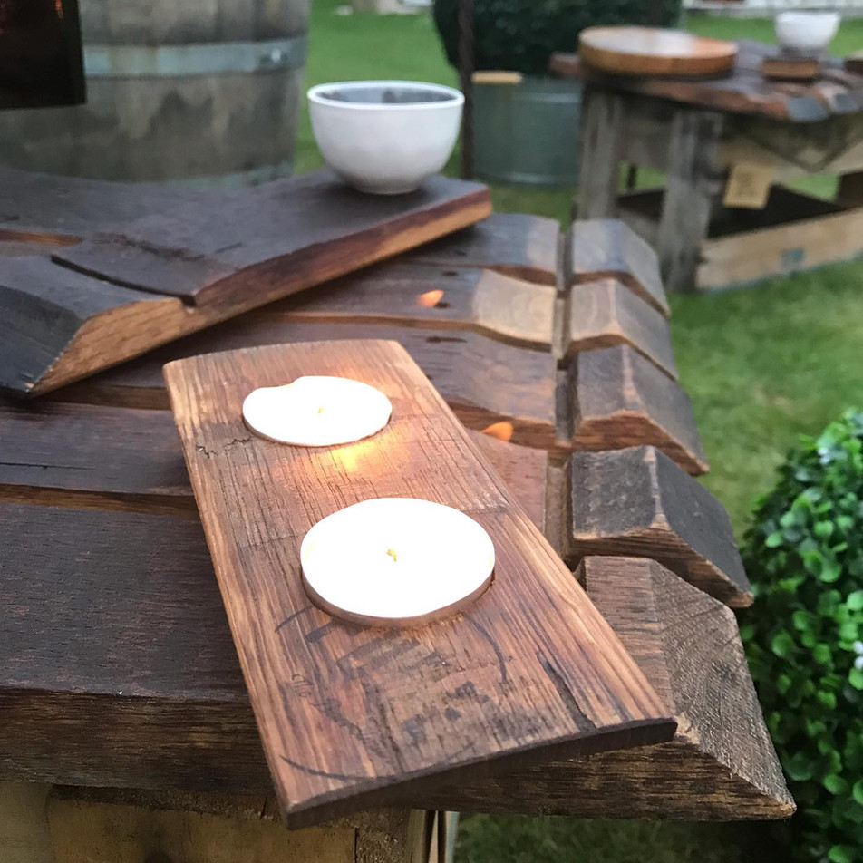 Double Oak Candle Holder and Cheese Plate