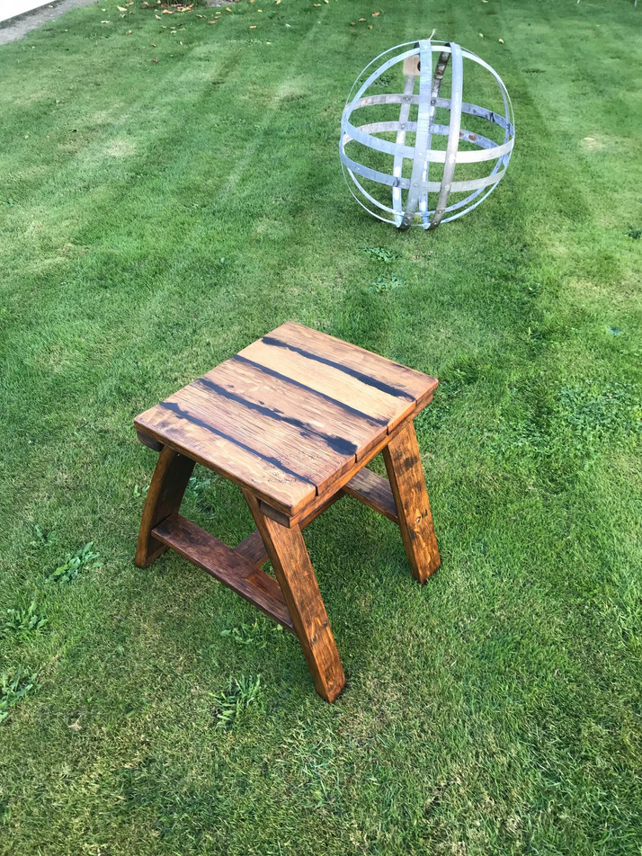 Recycled Oak Small Stave Table and Double Banded Metal Garden Art Sphere