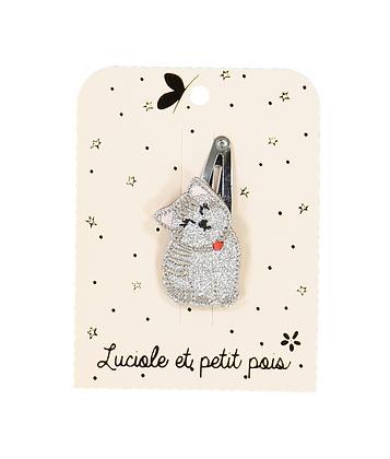 Barrette petit chat Argent - Luciole et Petit Pois