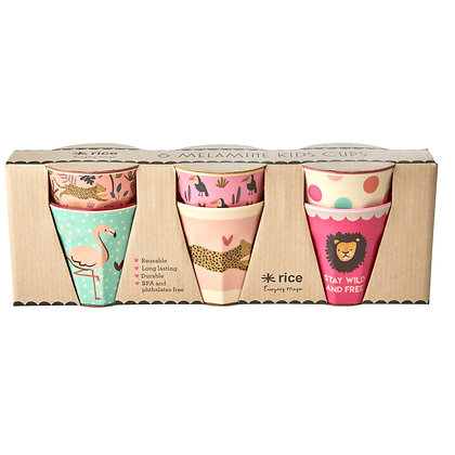 6 goblets en Mélamine thème Jungle Rose - Rice