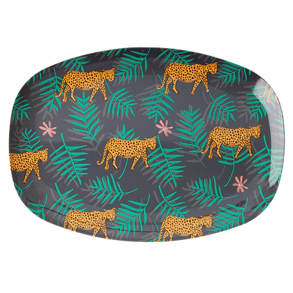 Assiette plate rectangulaire motif LEOPARD AND LEAVE - Rice