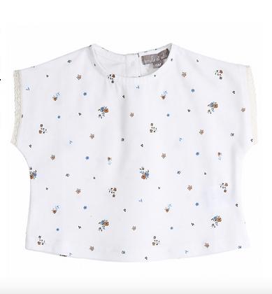 Tee shirt en coton biologique écru, imprimé Pensées bleues - Emile Et Ida