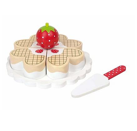 Gâteau fraises et gaufres en bois