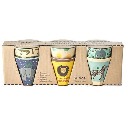 6 goblets en Mélamine thème Jungle bleu - Rice