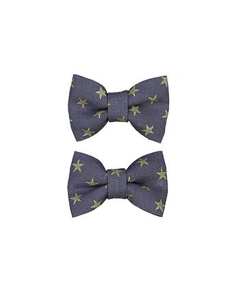 Barettes mini papillon bleue étoiles dorées- Luciole et Petit Pois
