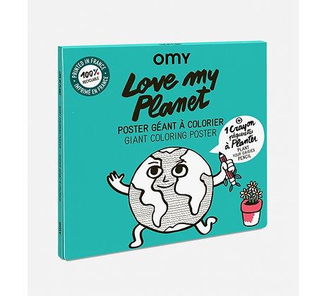Love my planet coloriage géant + crayon à planter