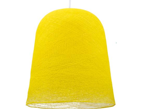 Abat-jour jupe jaune, suspension blanche - La case de Cousine Paul