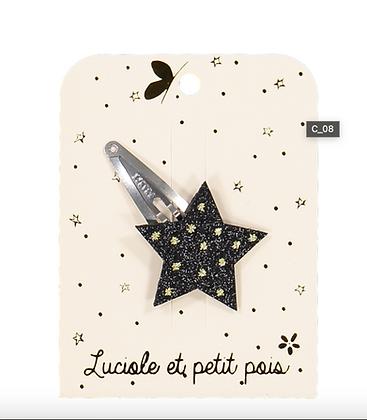 Barrette étoile Glitter noir - Luciole et Petit Pois