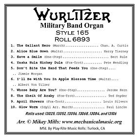 Wurlitzer 165 Roll 6893