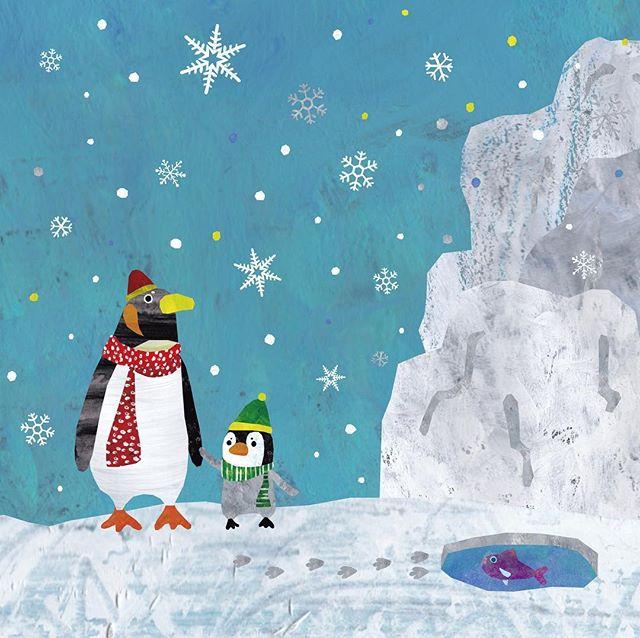 ペンギン親子 またまたさぶなってきた コートがなかなか手放せない… #イラスト