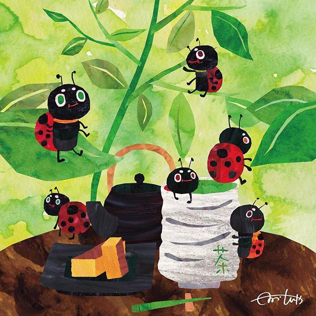 てんとう虫のお茶会 これってお風呂なん? #illustration #Illu
